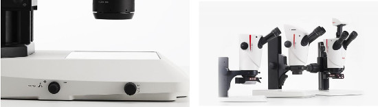 Vlevo Transmisní základna Leica TL3000ergo a vpravo Stereomikroskop Leica S9