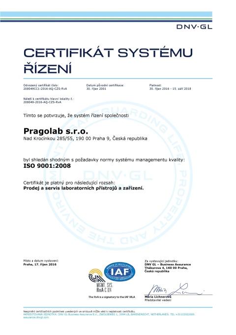 certifikát ISO 9001:2008 náhled