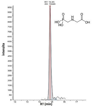 Obr. 3: analýza glyfosátu v pivu pomocí IC-MS/MS, obsah na úrovni 0,5 ug/L.