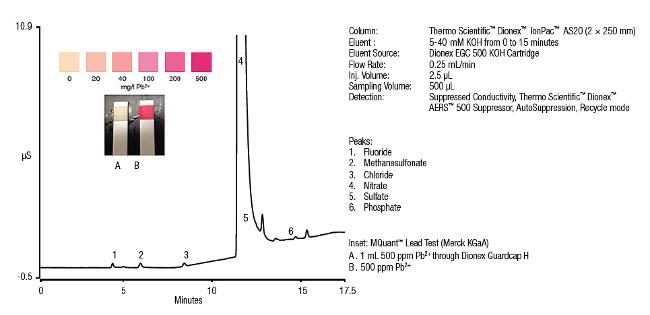 Víčka Dionex Guardcap H: Odstranění Pb²⁺ iontů