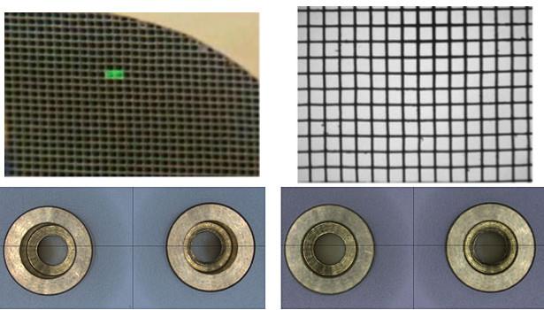 Obr. 7: Srovnání pohledů na náročné tvary, jak je vidět prostřednictvím standardní optiky a telecentrické optiky. Spodní části hlubokých otvorů jsou částečně zablokovány horními okraji otvorů při pohledu mimo střed se standardní optikou (vlevo). Při pohledu na telecentrickou optiku (vpravo) je viditelný celý povrch dna otvorů.