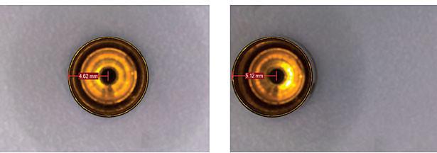 Obr. 2: Chyba paralaxy, která způsobuje nepřesnost měření. V levém obraze je pouzdro kazety umístěno v zorném poli a měření na obrazovce čte 4,62 mm od středu otvoru (od objektivu) až po okraj pouzdra (blíže k objektivu). Na pravém obrázku se stejné měření provádí mimo střed a čtení se změní na 5,12 mm.
