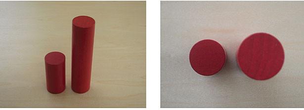 Obr. 1: Příklad chyby zvětšení při použití dvou hmoždinek o stejném průměru, avšak s různou výškou. Perspektivní pohled zobrazuje relativní velikost (vlevo). V horním pohledu na stejné položky (vpravo) se zdá, že vyšší hmoždinka je větší, protože je blíže objektivu.