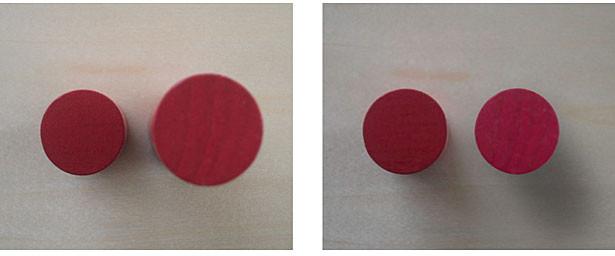 Obr. 5: objekty stejného průměru v různých vzdálenostech od čočky (z obrázku 1), jak je vidět pomocí standardní optiky kamery (vlevo) a telecentrické optiky kamery (vpravo).