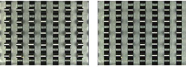 Obr. 6: Srovnání vysokých objektů (z obr. 3), jak je vidět pomocí standardní optiky (vlevo) a telecentrické optiky (vpravo).