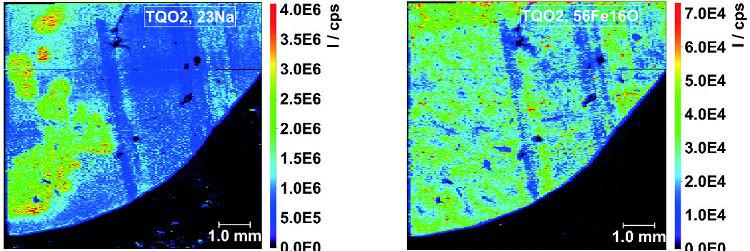 Obr. 12: Mapy prostorové distribuce 23 Na (vlevo) a 56 Fe 16 O (vpravo) pro TQ-O 2 mód.